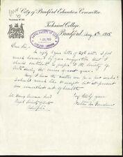 W M Gardner - dyeing, colour, coal tar; inventor of Dalite lamp - 1915 letter