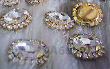 Oval Sew On Rhinestones Crystal Clear DIY 4 hole Gold Montee Button Beads Parts