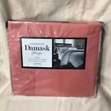 Charter Club Damask Stripe 550 TC Supima Cotton POPPY TWIN Duvet Cover $135