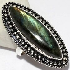 B1499 Fiery Labradorite .925 Sterling Silver Plated Ring US Size 7.2 Jewelry