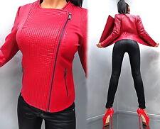 NEU LEDER OPTIK ROT RED LEATHER LOOK Damen Jacke Mantel Q23 Blazer Coat M