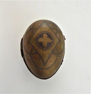Antique Art Nouveau Decorative Gold Metal Egg Shaped Thimble / Ring Box c1910