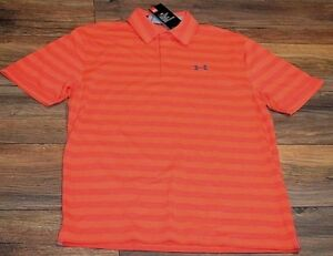 Underarmour Heatgear Loose Fit Wicking Performance Polo Shirt MSRP $50 Stripes
