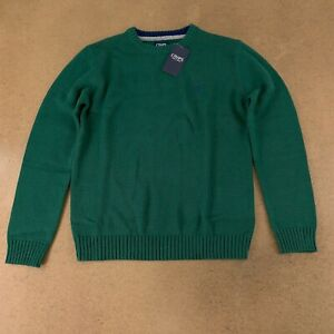 Chaps Boys Size Large (14/16) Dark Green Crew Neck Pullover Sweater NWT