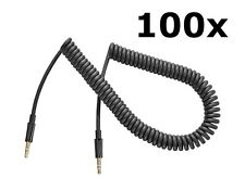 Lot of 100 New 3.5mm Male Male Stereo 9-ft Coiled Audio Auxilary Cables Ns-Maux9