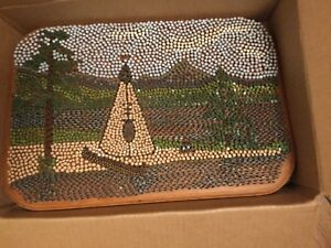 "VINTAGE Outsider Art Handcrafted Painted Nailhead & Staples Picture - 12"" x 18"""