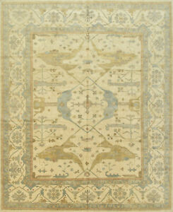 Oushak Rug, 12'x15', Beige, Hand-Knotted Wool Pile