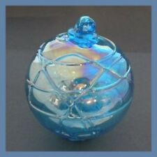 "Hanging Glass Ball 4"" Aqua Glass with Geometric Lines (1) Gb90 Slight Ab Finish"