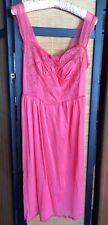 Vintage Texsheen Bright Pink Nylon Peignoir Nightgown Lace Chiffon Bust 37 Sissy