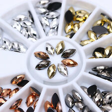 120Pcs 3D Nail Decoration Resin Gem Rhinestones Flat Cutting Marquise Back Tips