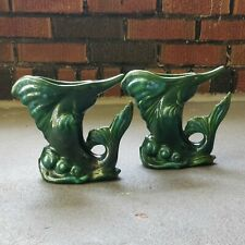 "Vintage Pair Royal Haeger Swordfish Planter Vase Mid Century 6"" Marlin Sailfish"