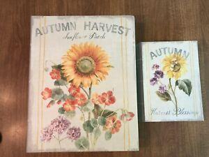 """Enchante Studio (set of 2) Faux Book SUNFLOWER Floral Secret Box 13.5 & 8.5"""" NWT"""