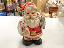 Beautiful Vintage Homco Santa Claus Bank Holding Teddy Bear With Stopper # 5610