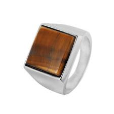 Retro Mens 316L Stainless Steel Square Tiger Eye Band Ring Biker Ring Sizes 8-12
