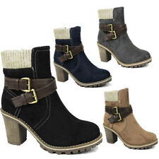 WOMENS LADIES CHUNKY SOLE CUBAN HEEL KNITTED SOCKS ANKLE BOOTS SHOES SIZE 3-8