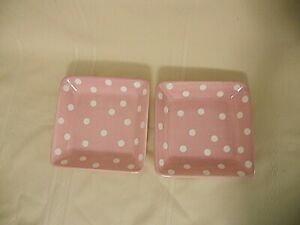 Help Whip Cancer Pampered Chef Pair of 2 Pink Plates White Polka Dots 7.25 inch