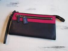 Genuine Dark/Navy Blue & Pink Coach Clutch Wallet