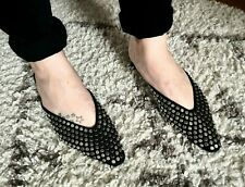 ZARA BLACK POINTED LOW HEEL STUDDED MULES VAMP SHOES, SIZE UK 4 / EUR 37.