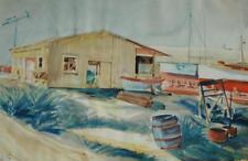 Vintage Watercolor of a New England Boatyard Scene