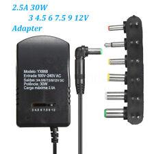 AC DC 3/4.5/6/7.5/9/12V 2.5A 30W Adaptador Convertidor EU Power Supply Cargador