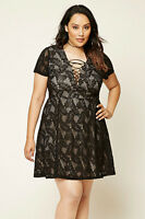 Forever 21 Plus Size Black Nude Floral Lace-Up Dress XL/1X/2X
