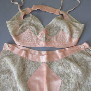 2-Pc Antique FLAPPER c1920s Shell Pink SATIN French LACE Bra + Tap Pants * BOWS
