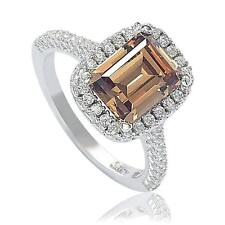 Suzy Levian Bridal Brown Cubic Zirconia with Halo Sterling Silver Ring