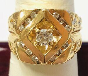 14 K Men's Yellow Gold .37 ct tw Diamond Nugget Ring