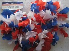 3 Patriot Flower Leis Red White Blue Holiday Memorial Veterans July 4th BFR