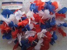 3 Patriot Flower Leis Red White Blue Holiday Memorial Veterans July 4th BFR