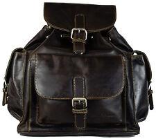 GREENWOOD VINTAGE Lederrucksack Daypack Damen Herren - braun 35x32x13 cm #001
