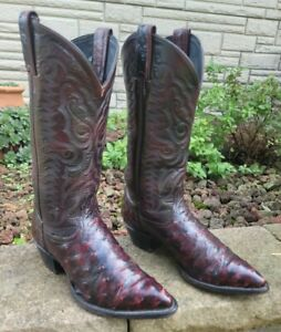 TONY LAMA Womans Black Cherry Full Quill Ostrich Cowboy Boots Size 6 M