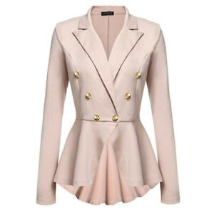 Women Double Breasted Lapel Button Work Office Blazer Jacket Coat Slim Fit Suit