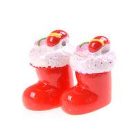 2x Miniature Christmas Stocking Socks Garden Decor Dollhouse Decoration Gift SDD
