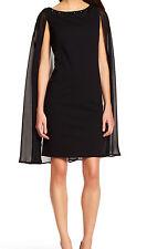 ADRIANNA PAPELL CAPE WITH BEADED NECKLINE SHEATH DRESS BLACK SZ US 10 NWT
