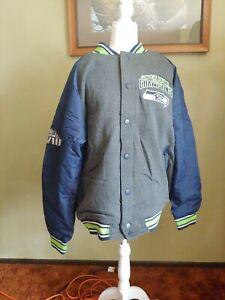 G iii Varsity Jacket Seattle Seahawks Super Bowl giii size M coat snap up button