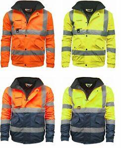 New Mens Premium Hi Vis Bomber Jacket Hi Viz Waterproof Safety Workwear Coat