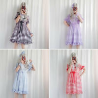 Women Lolita Collar Sweet Voile Lace Elegant Plaid Short Sleeve Princess Dress @