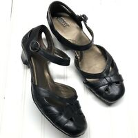 Born Black Leather Sandal Wedge Heels Womens Size 8