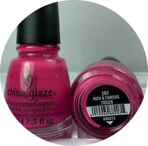 China Glaze Nail Polish RICH & FAMOUS 207 Opaque Brght Fiesta Pink Cream Lacquer