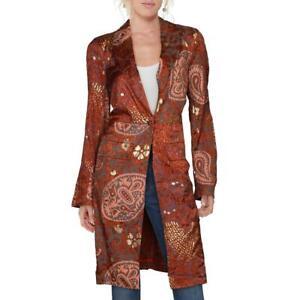 Free People Womens Brown MEtallic Paisley Topper Jacket Blazer L BHFO 4476