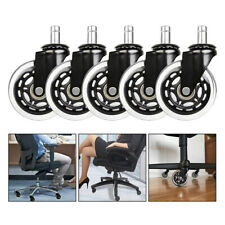 """Office Chair Caster Rubber Swivel Wheels Replacement 3"""" Soft Safe Roller 5Pcs C"""