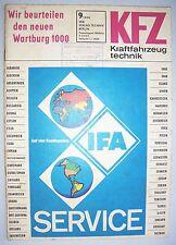 DDR Zeitschrift KFZ Kraftfahrzeugtechnik 9 / 1966 IFA Service Wartburg 1000 !
