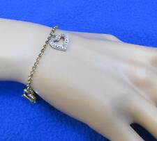 "Heart Charms Chain Bracelet Gold Plated Sterling Silver Diamond Chip 7"" Long"