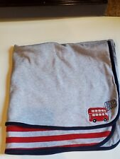 Just One You Carter's Baby Beep Red Double Decker Bus Gray Stripe Blanket Train