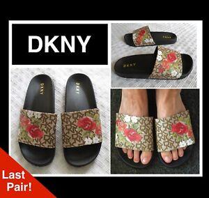 DKNY Black Floral Blooms Flat Footbed Flip Flops Sandals Sliders 6 6.5 7 39 40