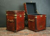 Handmade English Leather Pair of Occasional Side Table Trunks