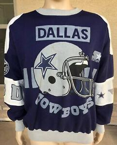 Vintage 90s Dallas Cowboys Starter All Over Print Crewneck Sweatshirt Large