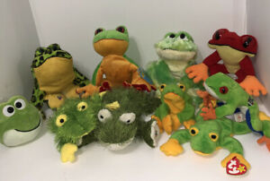 Group of 10 Plush Frogs, Webkinz, TY, Rainforest Cafe, Costs Rica