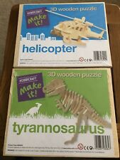 2 HOBBYCRAFT Make It 3D Wooden Puzzles, Helicopter Tyrannosaurus Dinosaur Sealed